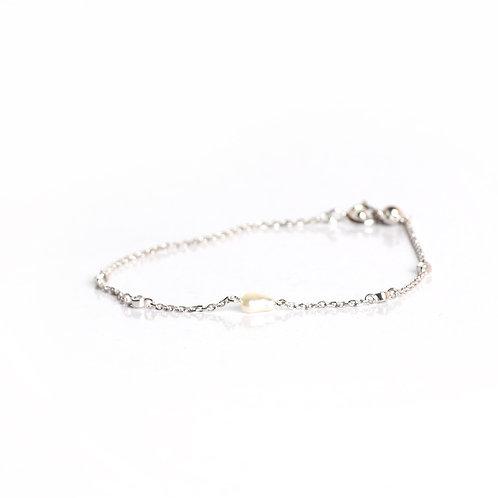 Minimal Keshi & American Diamond chain bracelet