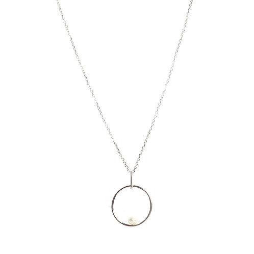 Circle shaped Keshi Pearls & American Diamond link pendant