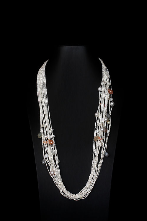 15 Strands White Oval Keshi with Multi-Colored Moonstones and South Sea Pearls