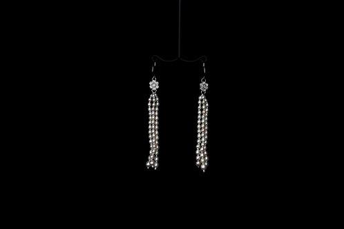 Tassel Earrings With AAA Japanese Akoya Keshi Pearls and Flower Diamond Earrings