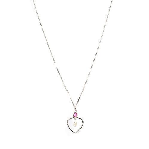 Keshi Pearl, Ruby & American Diamond heart shaped pendant