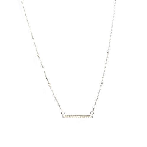 Classic horizontally set keshi pearl american diamond chain nceklace