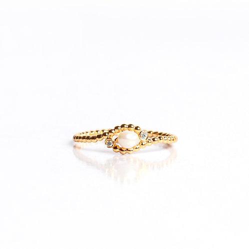 Keshi and American Diamond Granule Ring