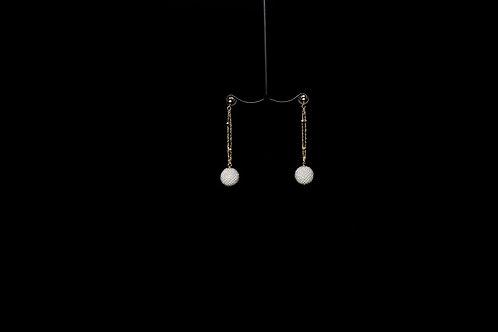 10 mm Woven Japanese Keshi Exseed Pearl 18K Earrings