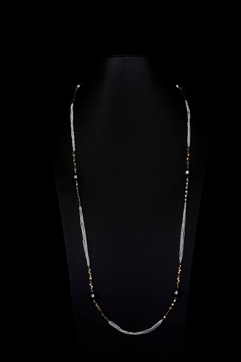 Endless Necklace with 18K Yellow, White and Rose Gold, Seed and Tahitian Pearls