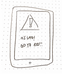 Sketch of an iPad screen with a warning preventing usage