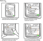 Storyboard sketches of a conversational app