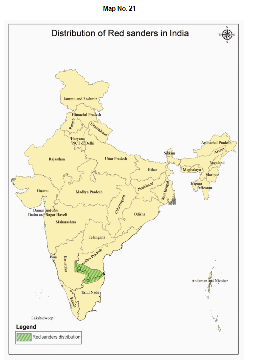 Distribution of Red Sanders