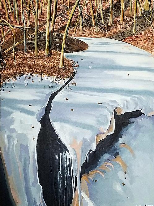 Underneath the frozen river, the water still flows