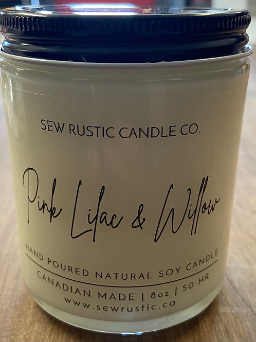 Sew Rustic 8 oz. Pink Lilac & Willow Candle