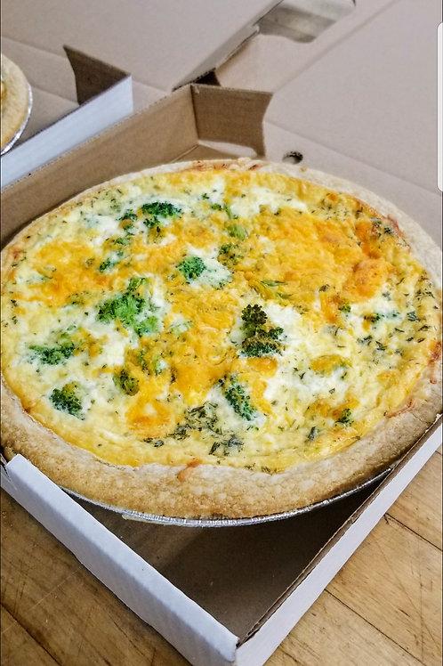 Broccoli Cheddar Quiche, full quiche