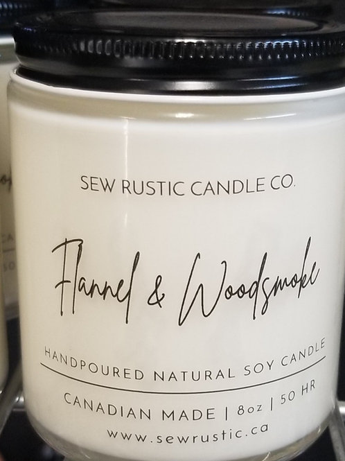 Sew Rustic 8oz. Flannel & Woodsmoke Candle