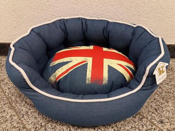 Hundebett Jeans/England Flagge 50x40 cm