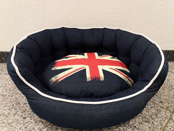 Hundebett Jeans/England Flagge 60x50 cm