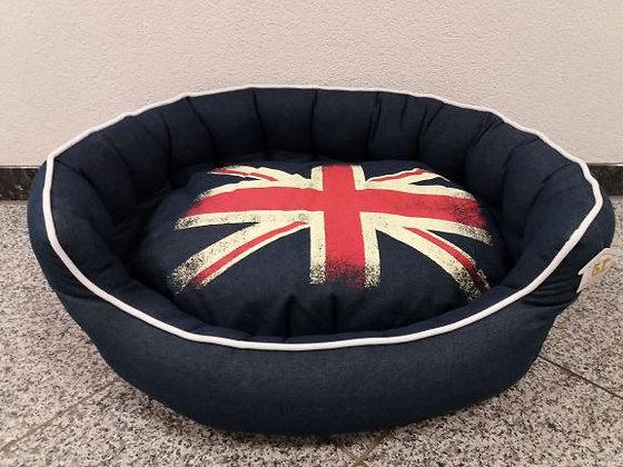 Hundebett Jeans/England Flagge 75x65 cm