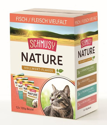 Schmusy Nature Vollwert-Flakes in Sauce - 12 x 100g Portionsbeutel im Multipack