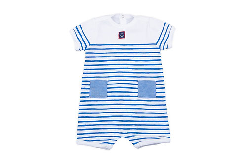 Petit Bateau - Baby Boy Striped Romper w/Anchor
