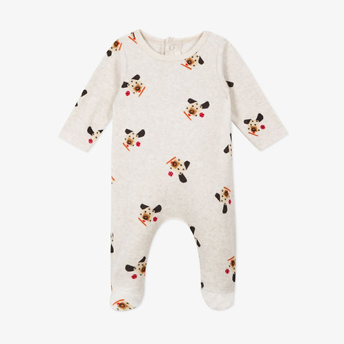 Catimini - Velour Puppy Footed onesie