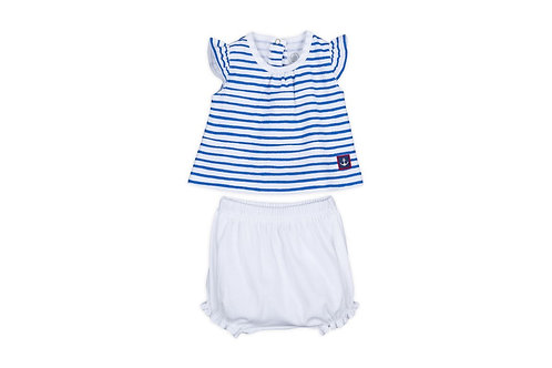 Petit Bateau - Baby Girl 2 Piece Set Striped Tee w/Bloomers