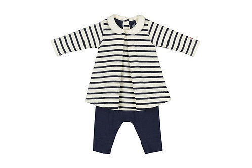 Petit Bateau - Striped Dress with attached Leggings