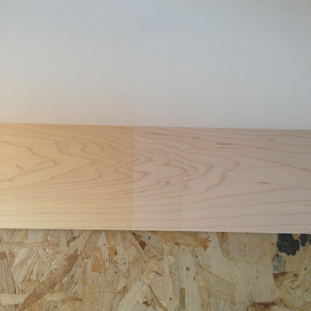Rubio Monocoat | L: Natural, R: White, Middle: bare wood