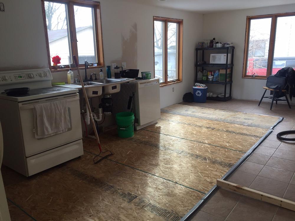 Kitchen subfloor in DIY home renovation