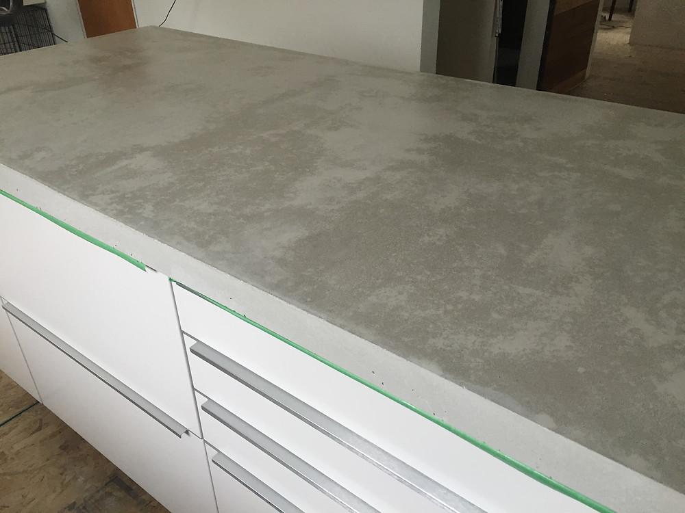 Concrete countertops installation complete