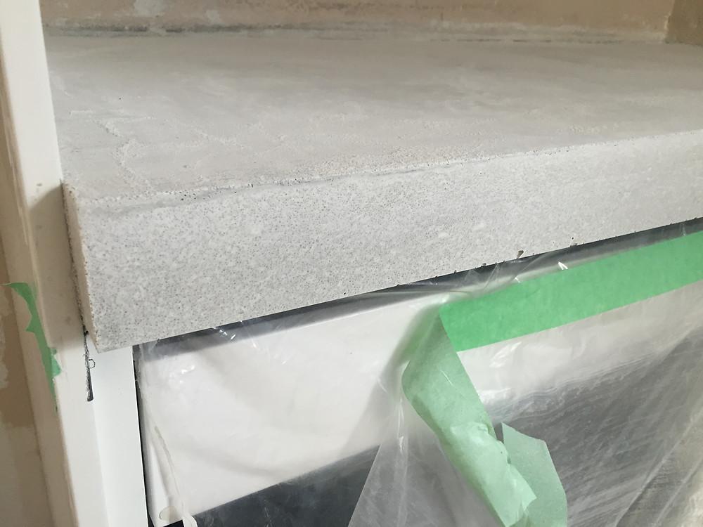 Concrete countertop completed square edge