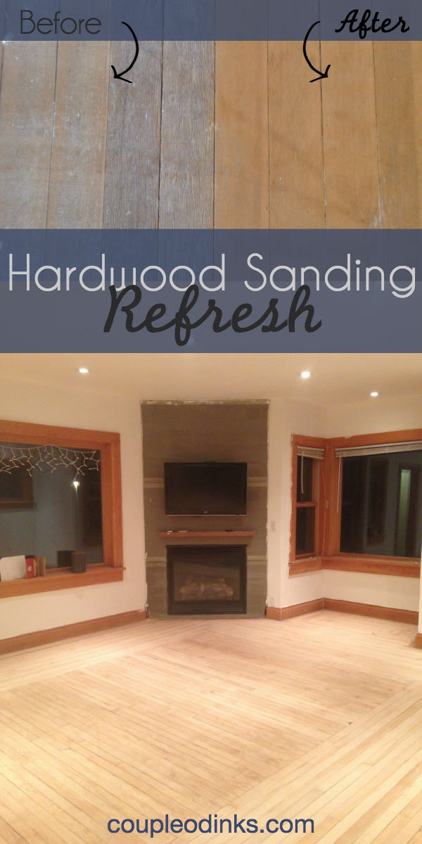 Hardwood floors get a refresh sanding in a DIY home renovation