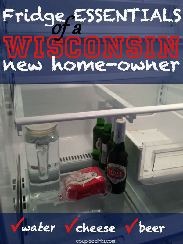 Fridge essentials of a Wisconsin new home-owner: water, cheese, beer.