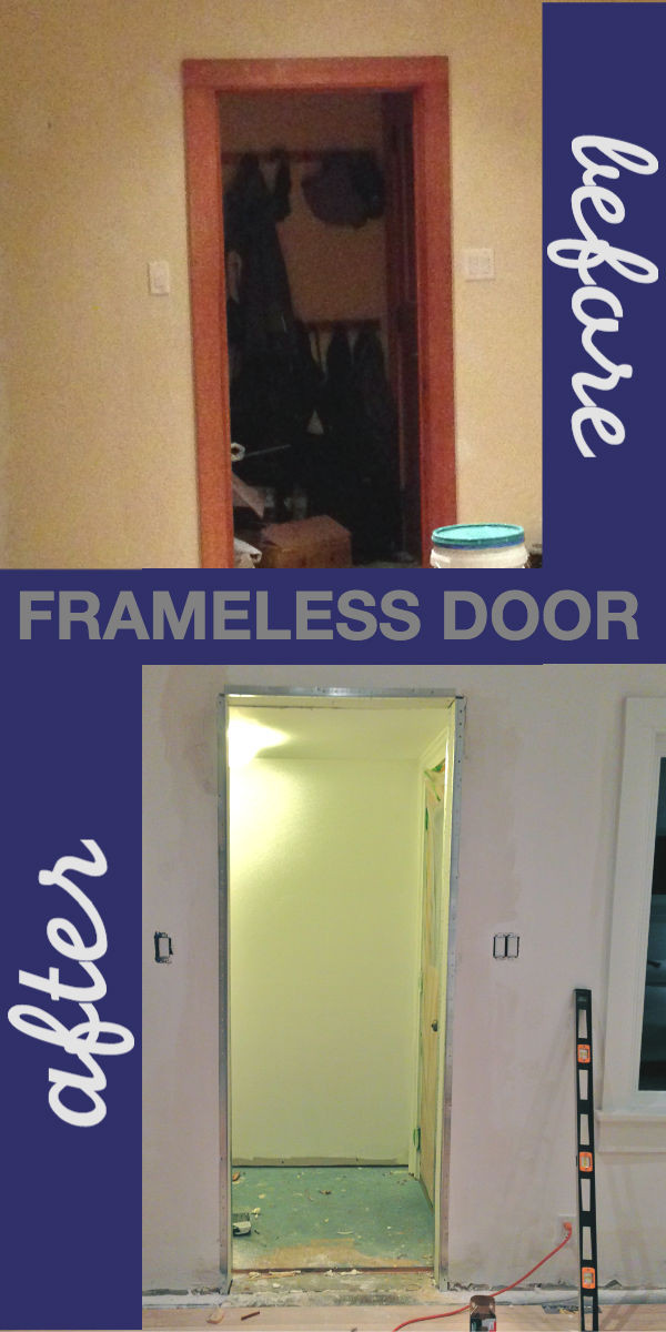 Front entry frameless doorway in DIY home renovation