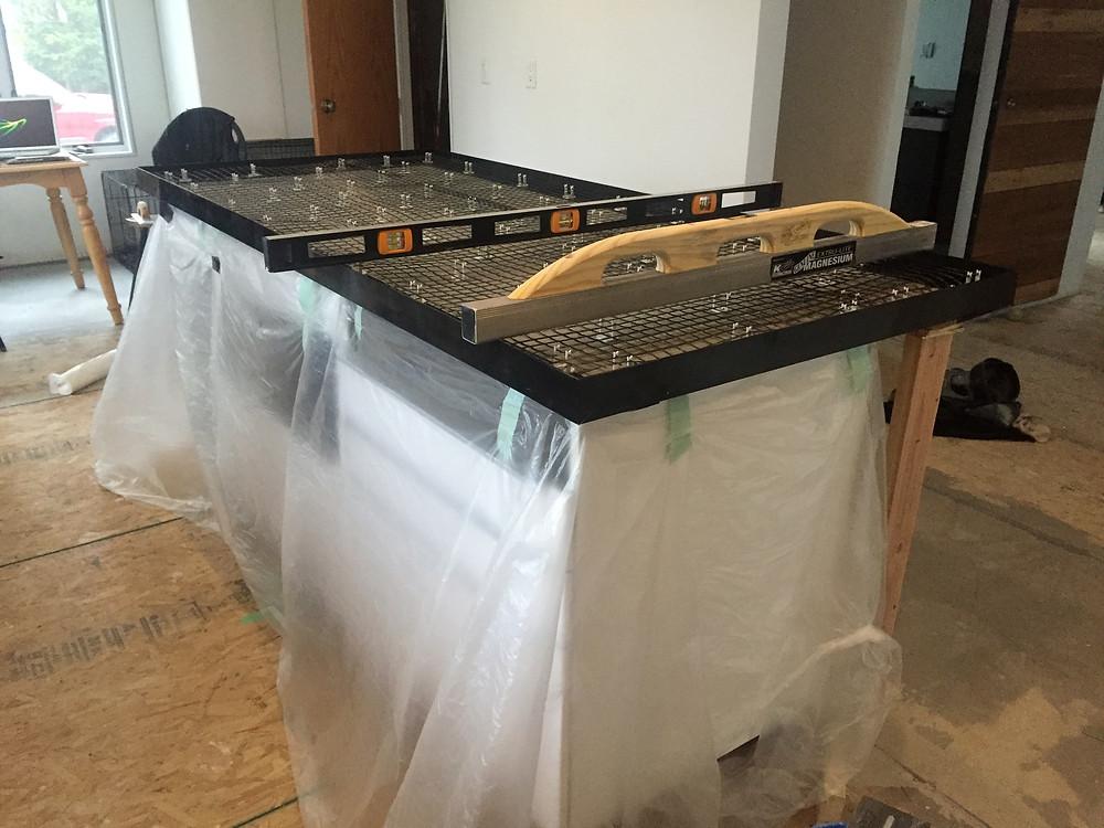 Wire mesh prepped for concrete countertops