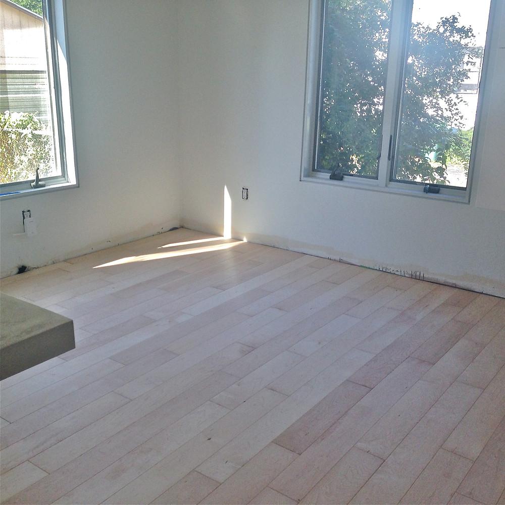 Engineered maple hardwood floors with Rubio Monocoat finish