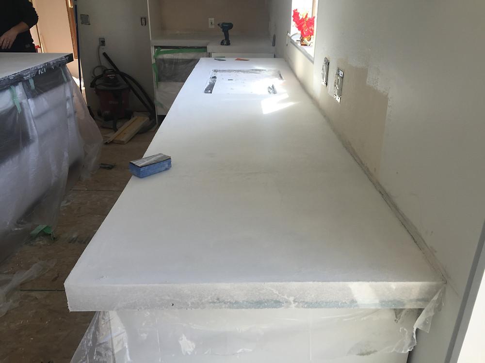 Square edge concrete countertop installation complete