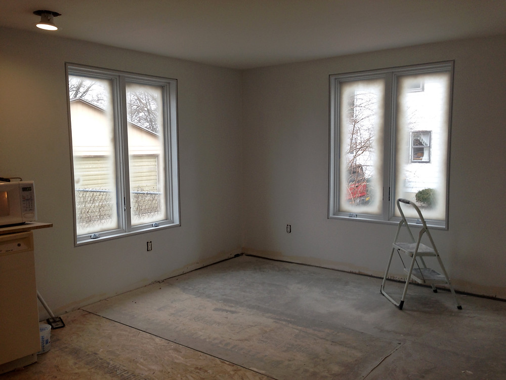 White window trim in DIY home renovation
