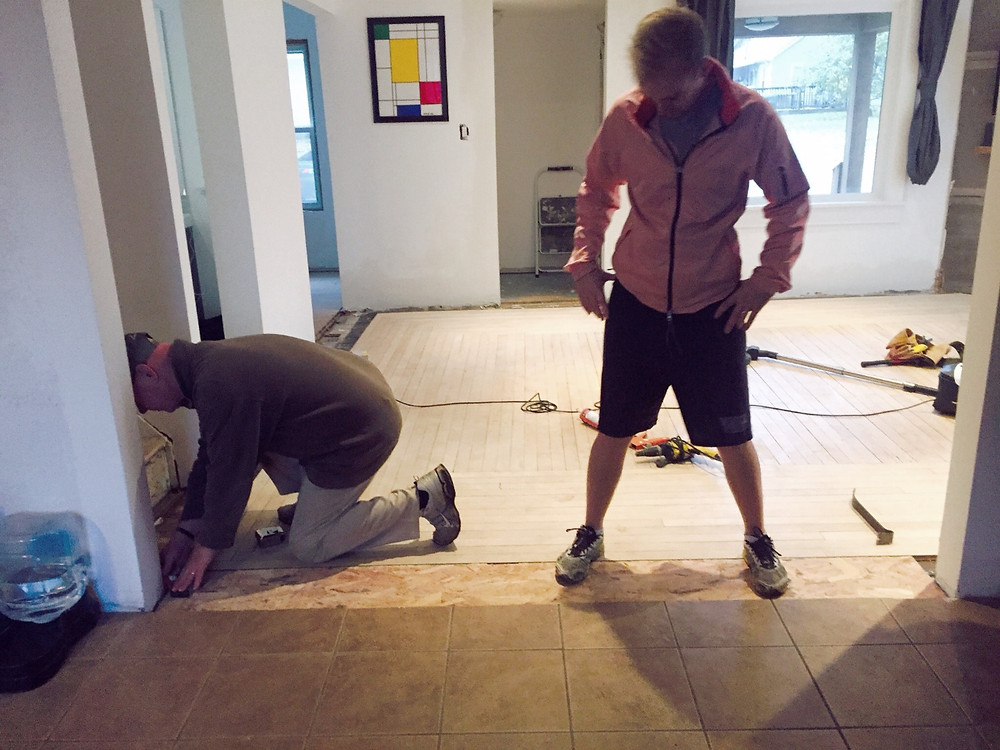 Measuring for floor transition pieces in DIY home renovation