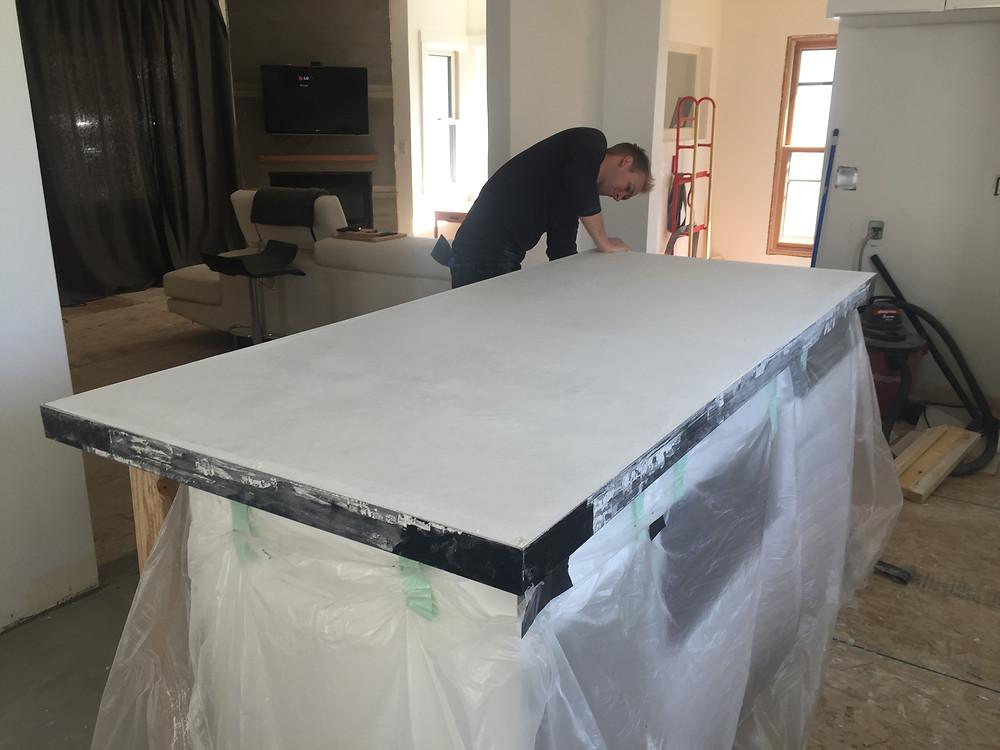 Removing square edging during concrete countertop installation