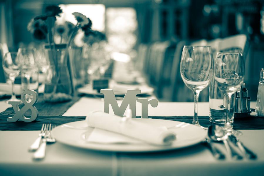 Tischdeko bei einer Hochzeit in Kärnten.