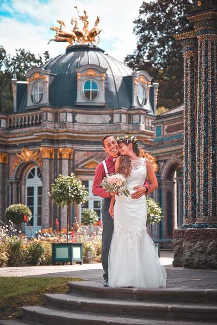 Hochzeitsfoto mit Brautpaar Alevtina und Tobi
