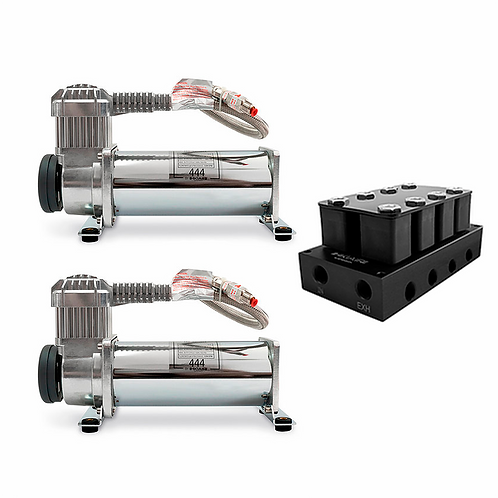2x Premium HKI AIR 444 Air Compressor + 4 Corner Valve Manifold