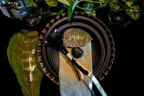 Black & Green Table Setting with Dried L
