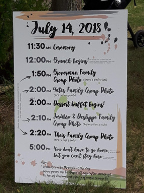 Brunch Wedding Itinerary Sign