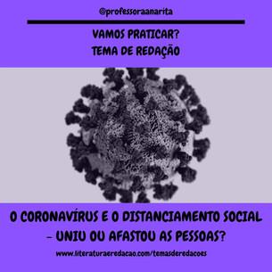 O CORONAVÍRUS E O DISTANCIAMENTO SOCIAL