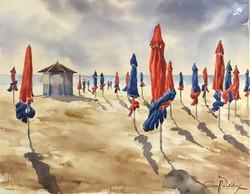 Deauville les parasols, 38 x 48 cm