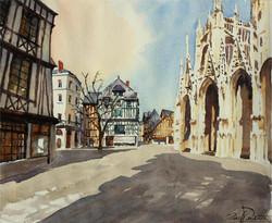 Rouen place St-Maclou, 40 x 34 cm