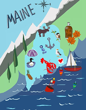Map of Maine Paper Print 11x17