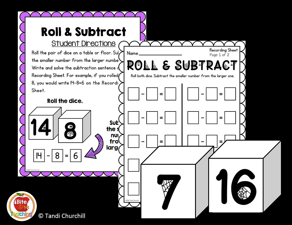 Halloween Roll and Subtract Center