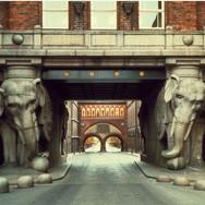 The ornate Elephant Tower of the Carlsberg Brewery in Kopenhagen, 1901.