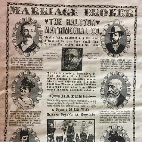 Marriage Broker advertisement, 1889