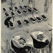 Infants sleeping in the open air after lunch at a maternity hospital in Moscow, 1958